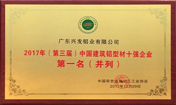 """""""中国建筑铝型材十强企业第一名""""荣誉牌匾.jpg"""