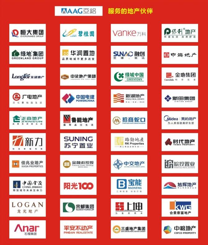 """AAG亚铝蝉联""""2020年中国房地产开发企业500强•首选型材供应商"""""""